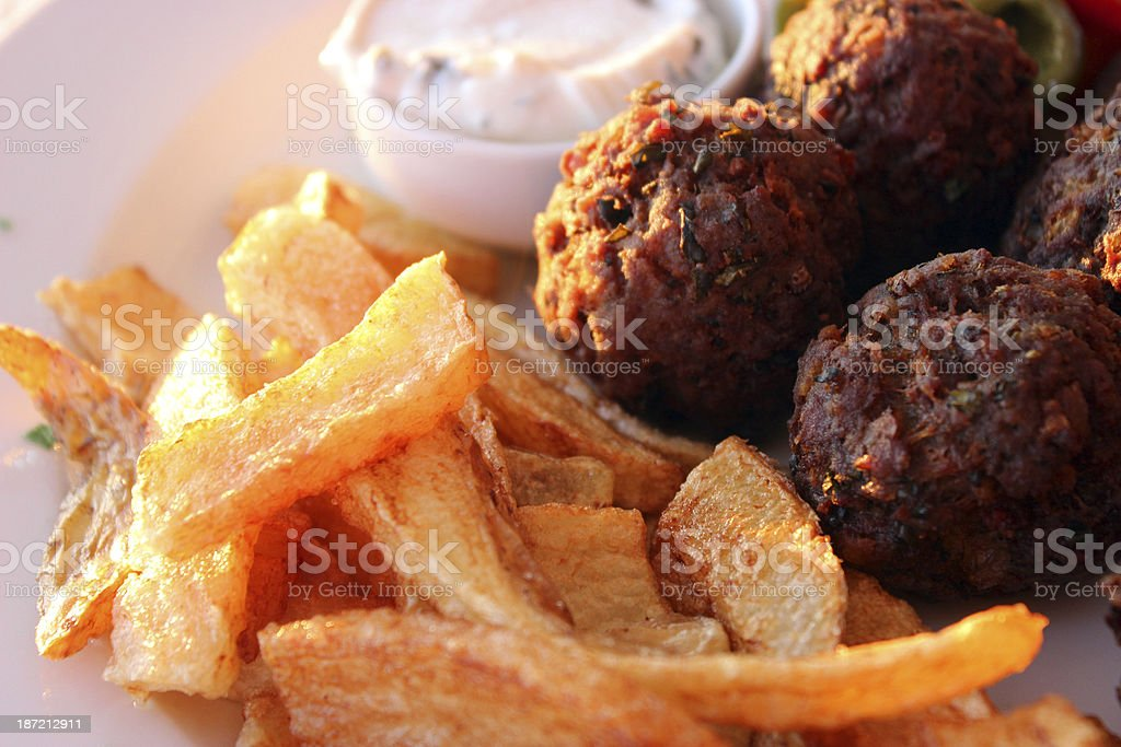 Meatballs and potatoes - closeup royalty-free stock photo