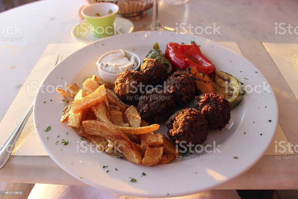 Meatballs and potatoes royalty-free stock photo