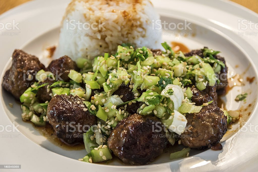 Meatballs and rice. royalty-free stock photo
