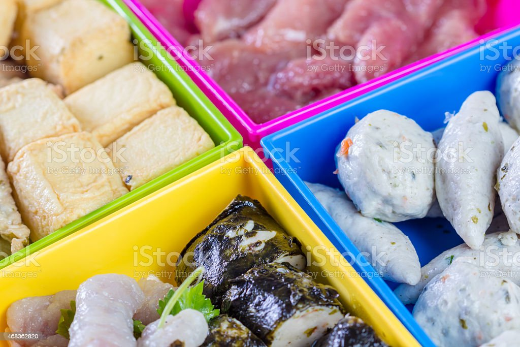Meatballs for make chinese food in box food royalty-free stock photo