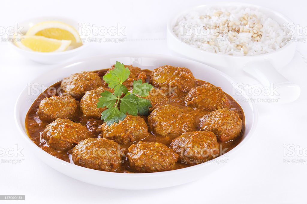 Meatballs in Sauce with Rice royalty-free stock photo