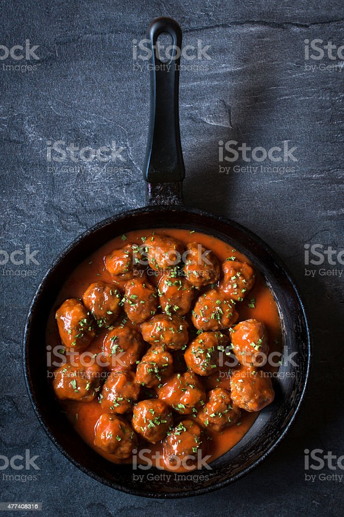 Meatballs in the pan stock photo