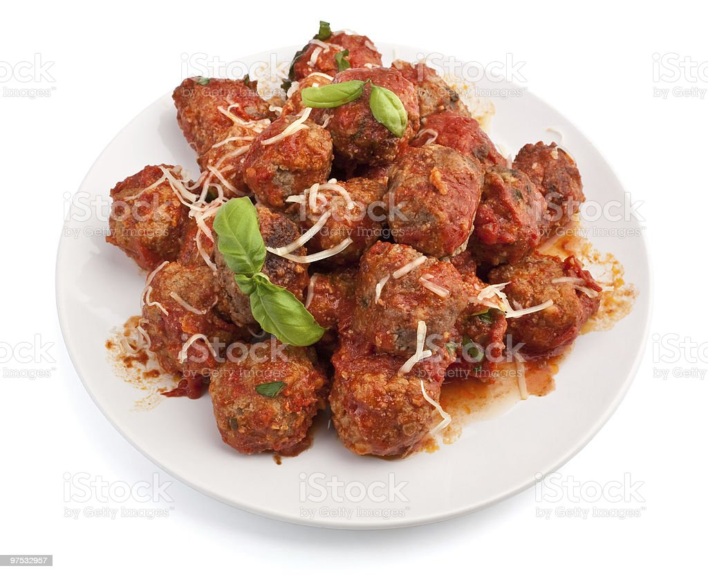 meatballs in tomato sauce on a plate royalty-free stock photo