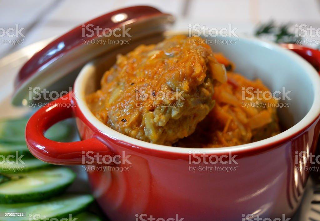 meatballs in vegetable gravy stock photo