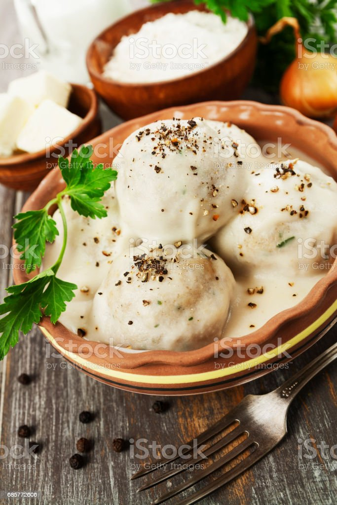 Meatballs in white sauce royalty-free stock photo