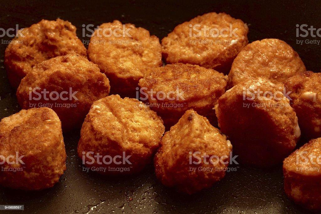 Meatballs on frying pan stock photo