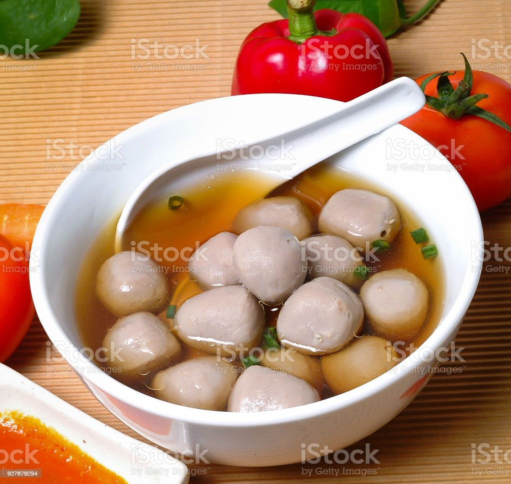 meatballs Soup stock photo