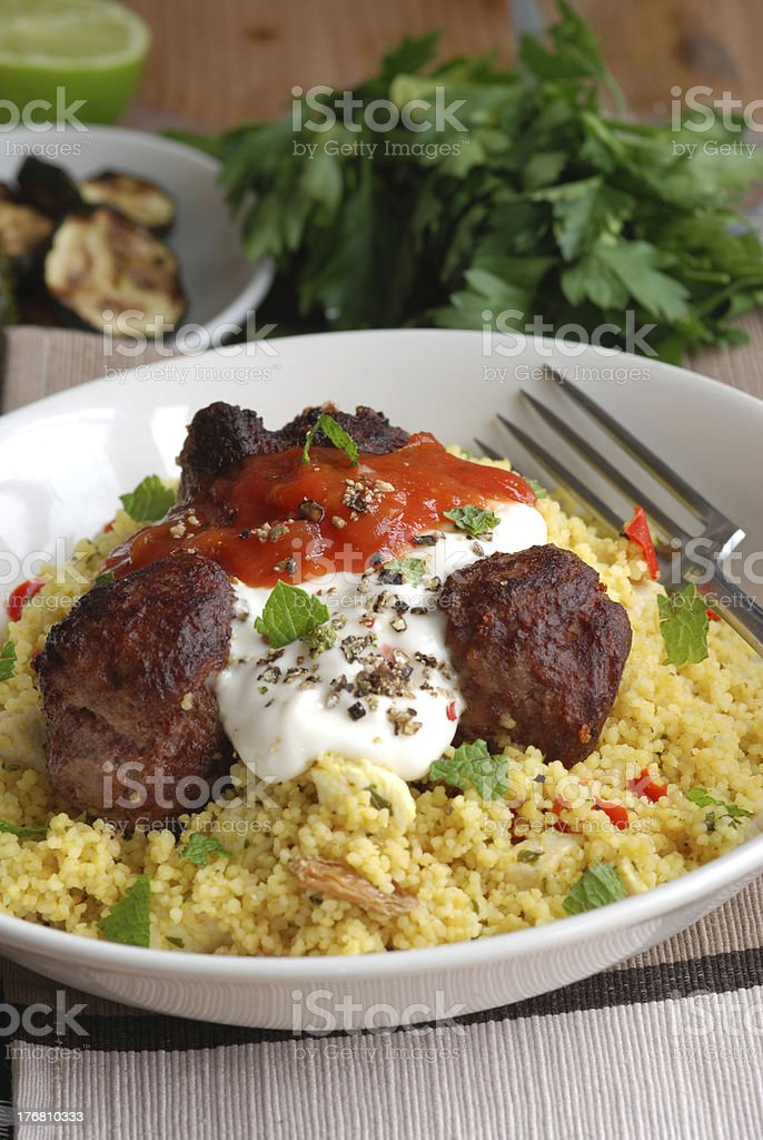Meatballs with couscous royalty-free stock photo