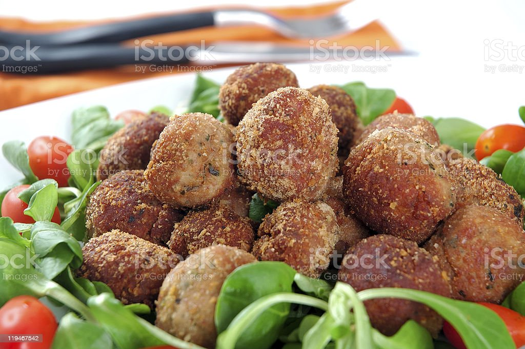Meatballs with fresh vegetables royalty-free stock photo