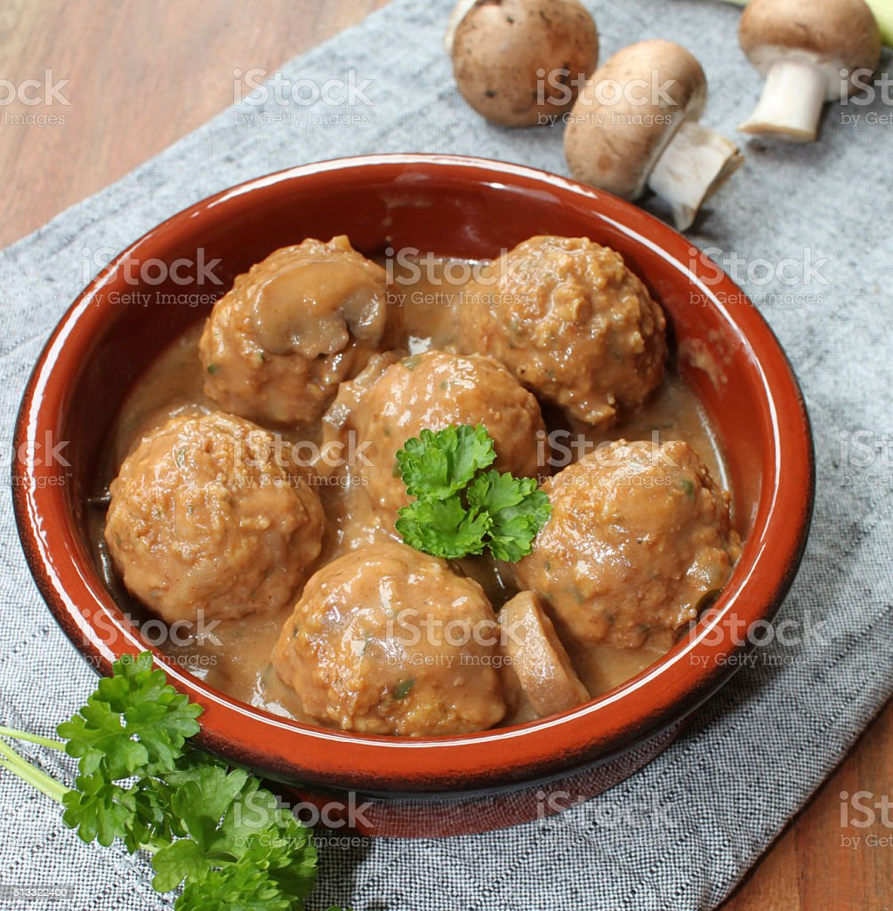 meatballs with mushrooms and sauce stock photo