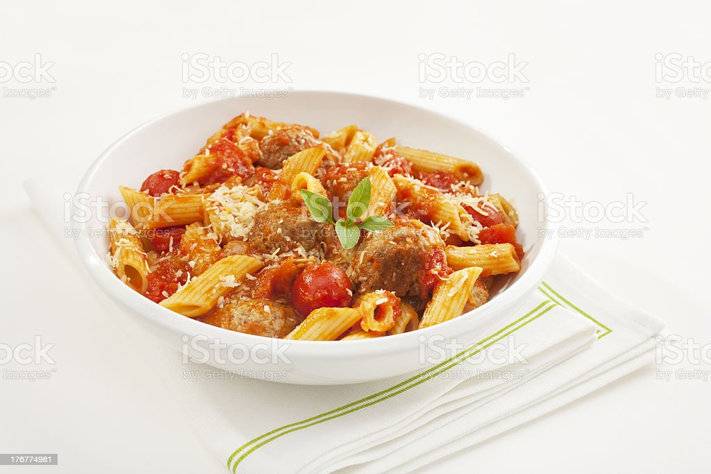 Meatballs with Penne Pasta royalty-free stock photo