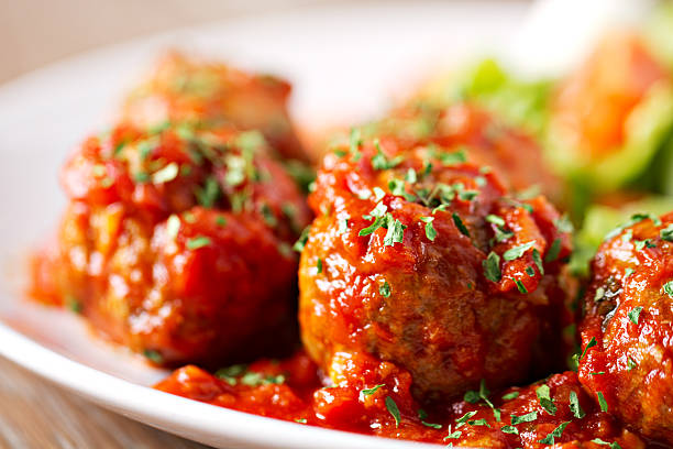 Meatballs with salad Meatballs with salad meatball stock pictures, royalty-free photos & images