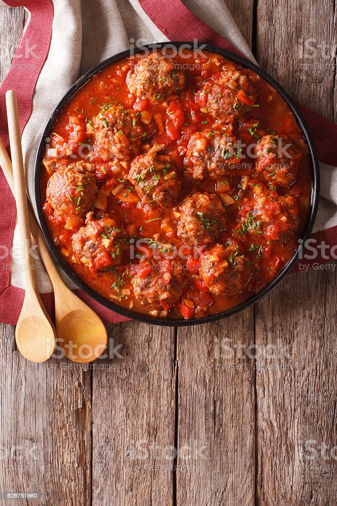 Meatballs with spicy tomato sauce on a plate stock photo