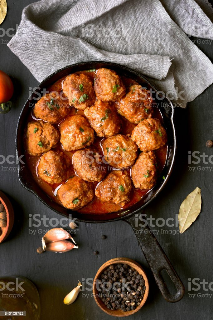 Meatballs with tomato sauce stock photo