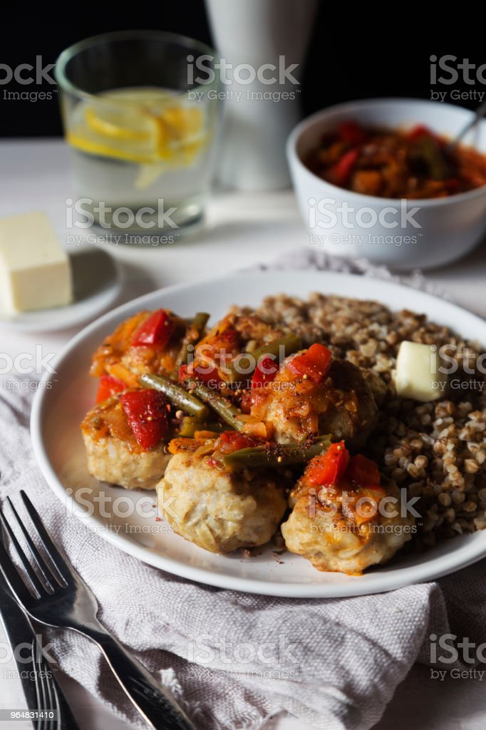 Meatballs with vegetable sauce and buckwheat royalty-free stock photo