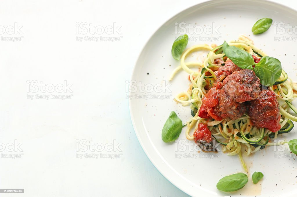 Meatballs with Zucchini pasta stock photo