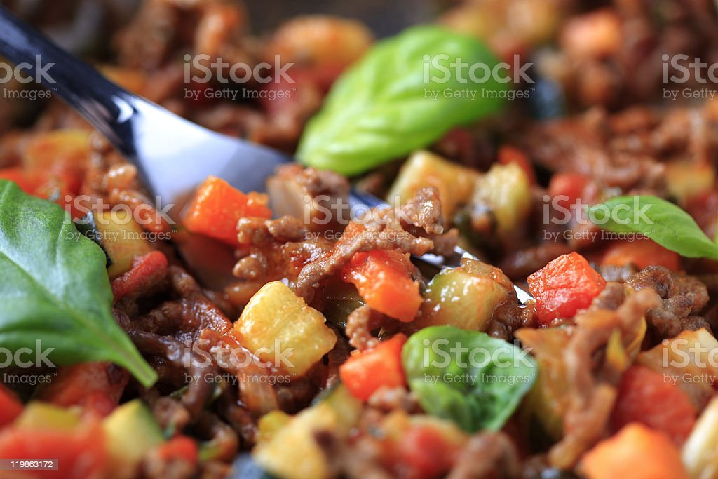 Meat-based pasta sauce royalty-free stock photo