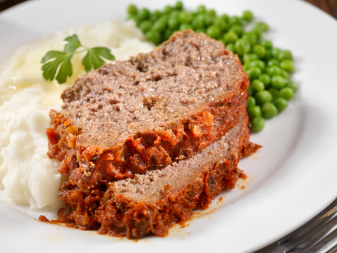 Meatloaf Baked In Tomato Sauce with Mashed Potatoes and Green Peas -Photographed on Hasselblad H3D2-39mb Camera