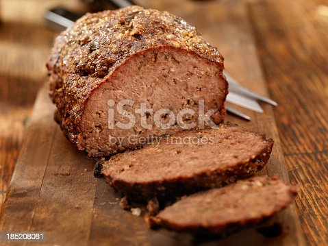 Meatloaf, Fresh from the oven on a cutting board -Photographed on Hasselblad H3D2-39mb Camera
