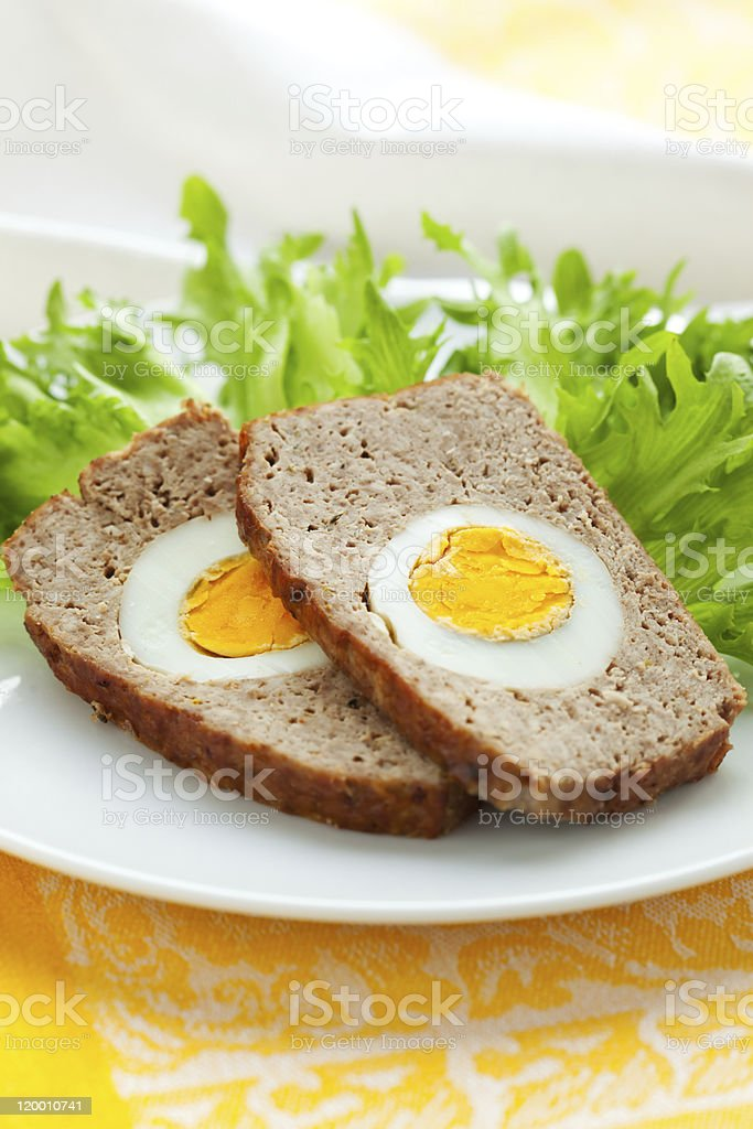 meatloaf with boiled eggs royalty-free stock photo