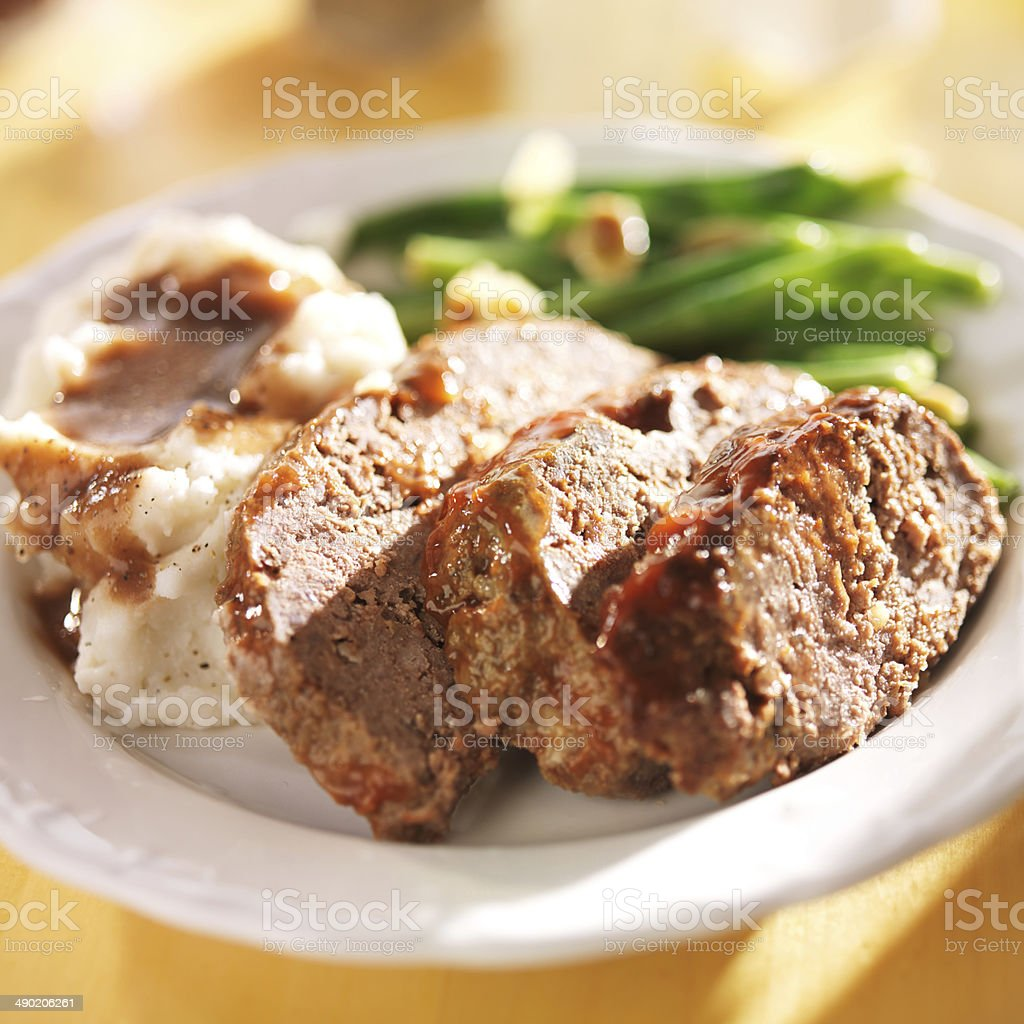 meatloaf with greenbeans and mashed potatoes stock photo