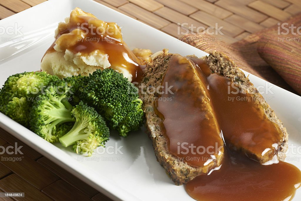 Meatloaf with mashed potatoes stock photo