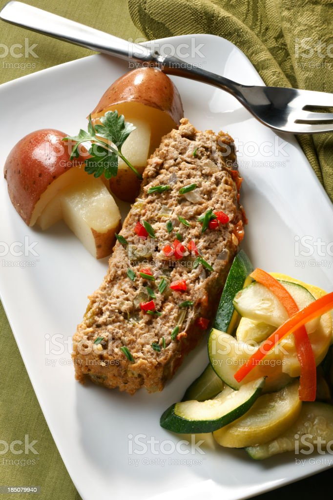 Meatloaf with saute vegetables royalty-free stock photo