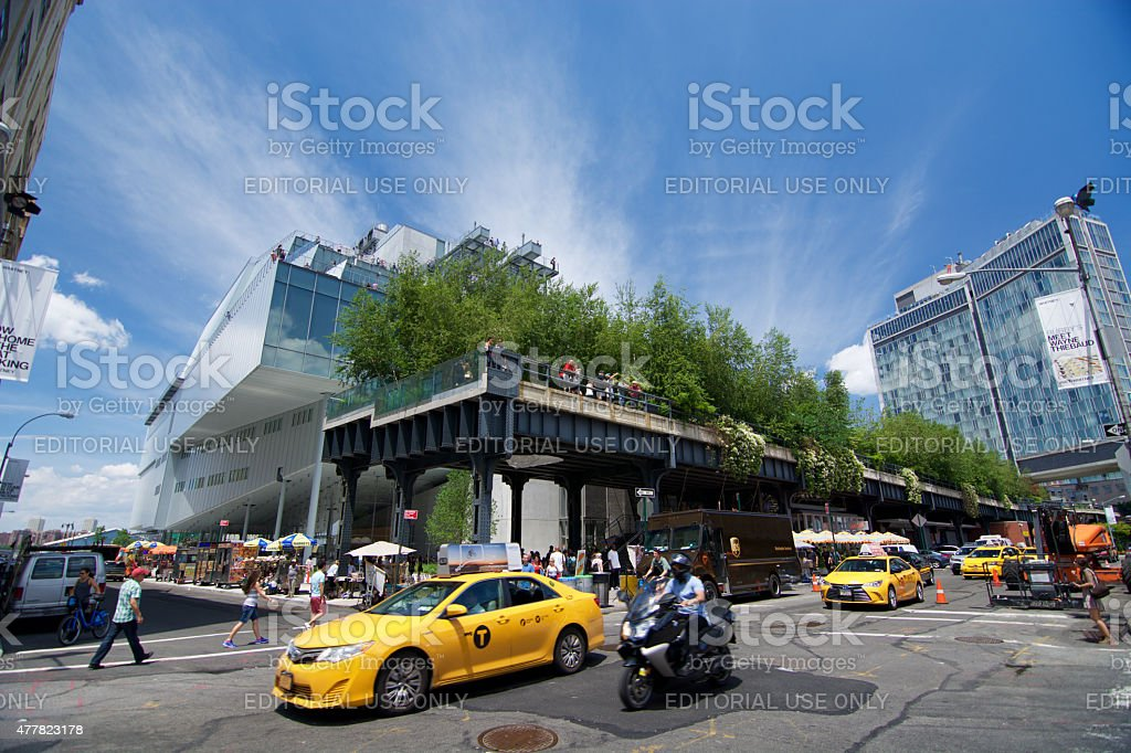 Meatpacking District Cityscape, whitney museum, High Line Manhattan stock photo
