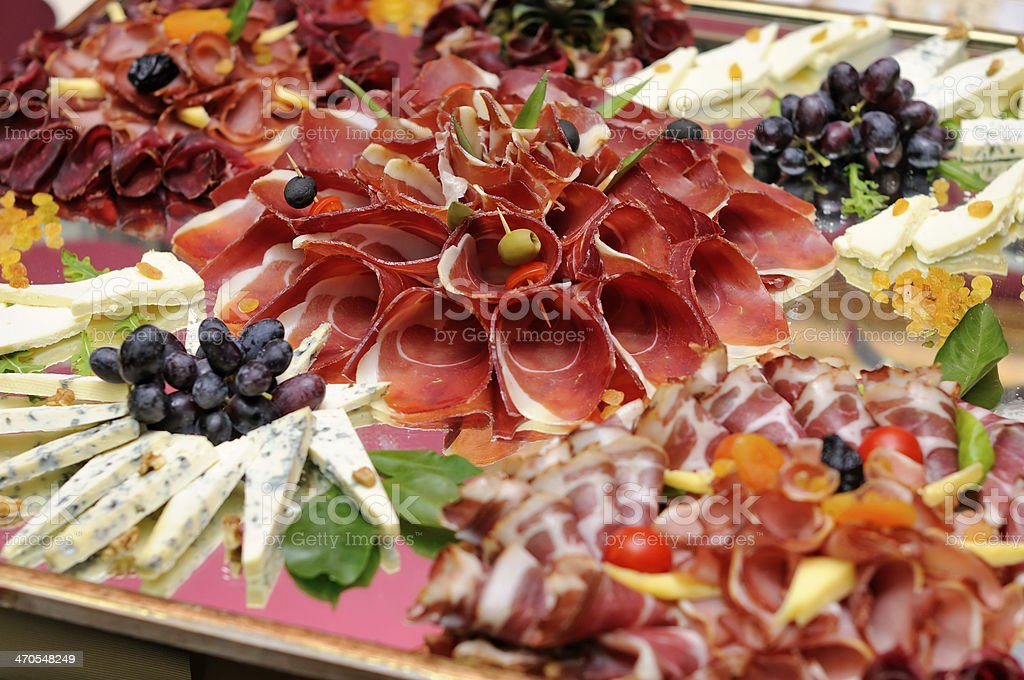 Meats and cheese selection stock photo