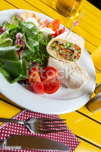 Meaty wrap with lettuce