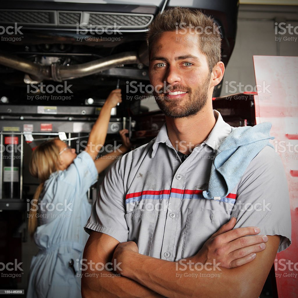 Mechanic at Autobody Shop stock photo