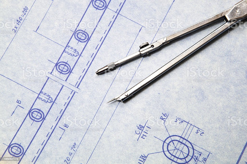 Mechanic blueprint detail royalty-free stock photo