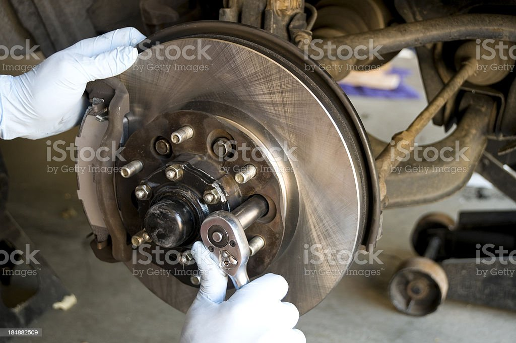 Mechanic Brake Job stock photo