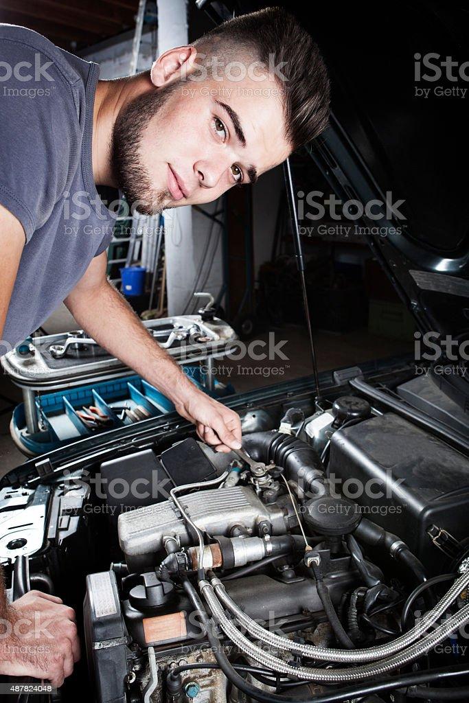 Mechanic car repair engine motor stock photo