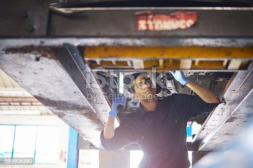 599909112 istock photo Mechanic check exhaust 599908390