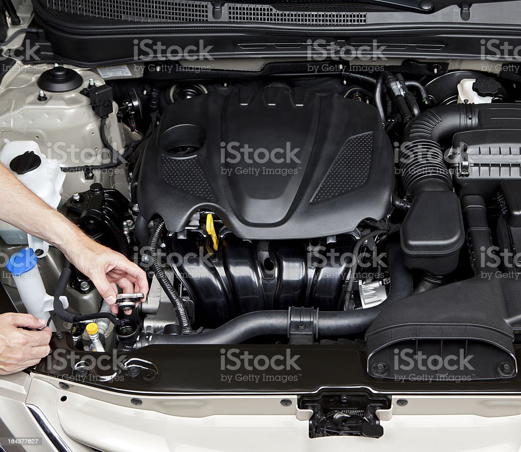 Mechanic Checking Car Engine Antifreeze royalty-free stock photo