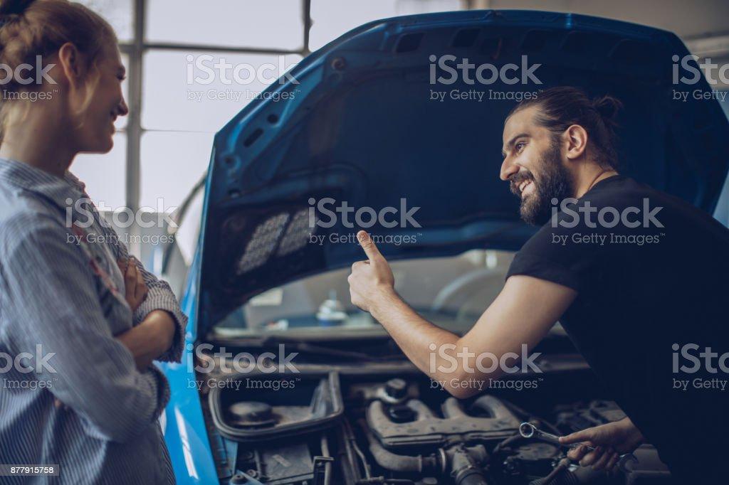 Mechanic did a good work stock photo