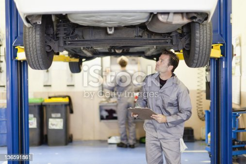 istock Mechanic examining underside of car 136591861