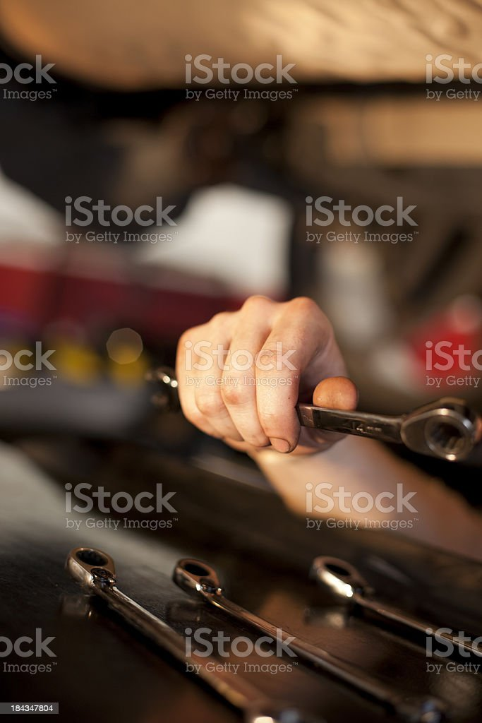 Mechanic Hand with Wrench royalty-free stock photo