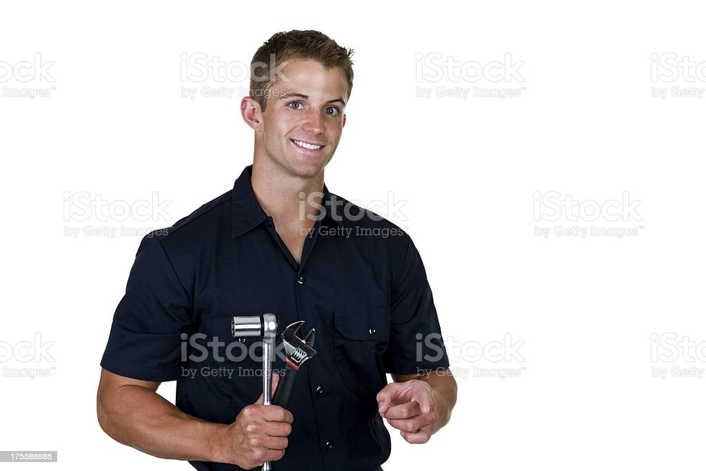 Mechanic holding tools royalty-free stock photo