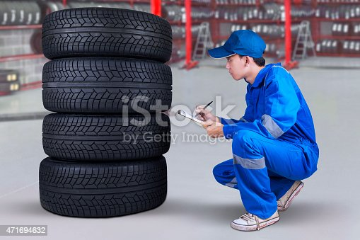 1047558948 istock photo Mechanic inspecting the tires texture 471694632