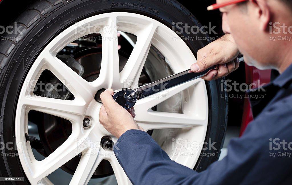 mechanic locking lugnut royalty-free stock photo