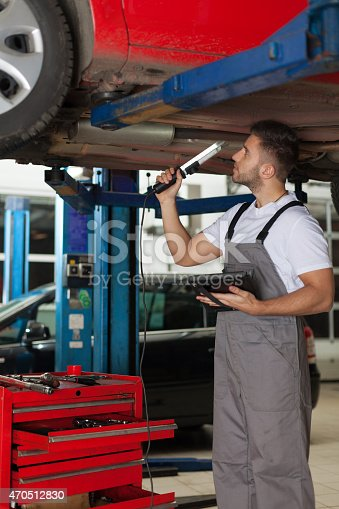 1137474295 istock photo Mechanic Making an Inspection of a Car Chassis 470512830