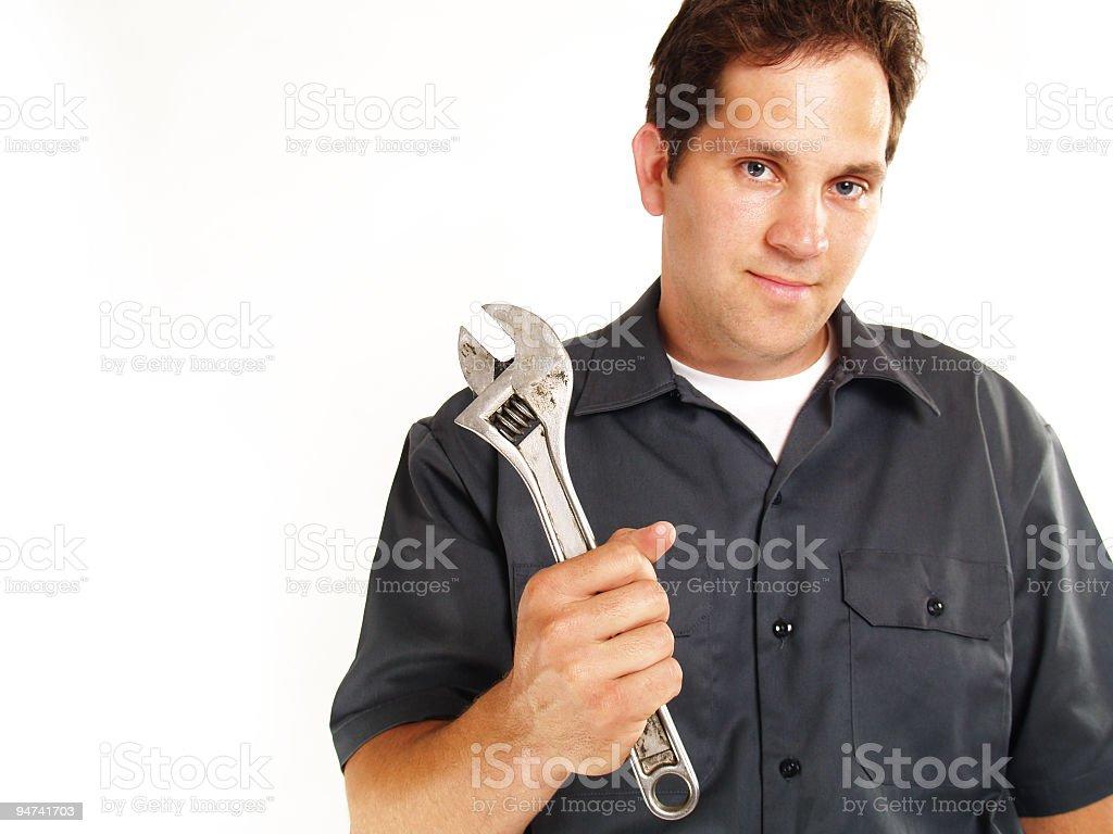 Mechanic Portrait Isolated on White stock photo