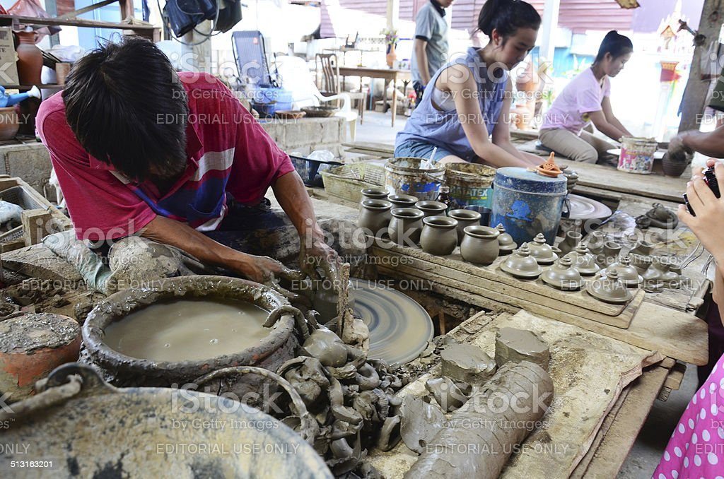Mechanic pottery made earthenware at Koh Kret Island stock photo