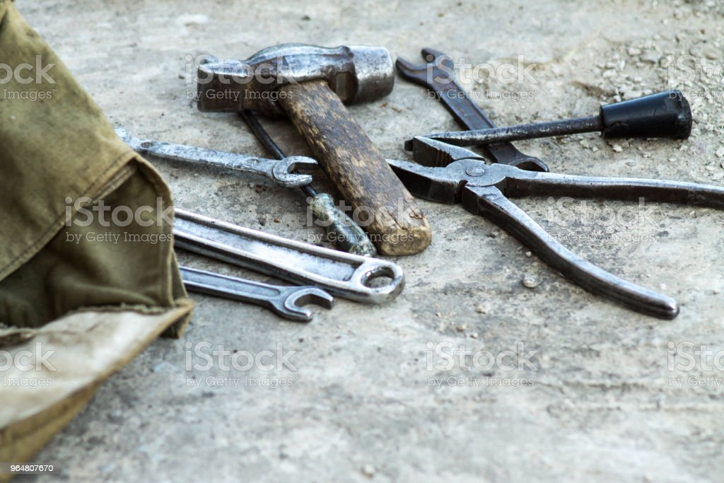 Mechanic tools. Authentic tools. Set of different garage tools. royalty-free stock photo
