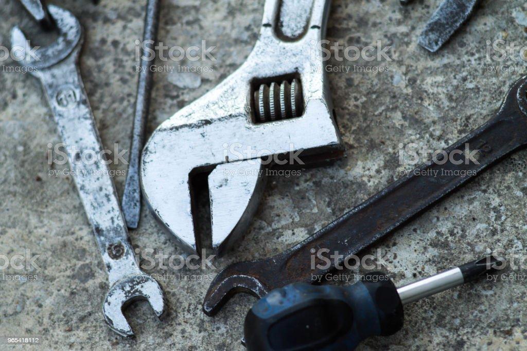 Mechanic tools. Authentic tools. Set of different garage tools. zbiór zdjęć royalty-free