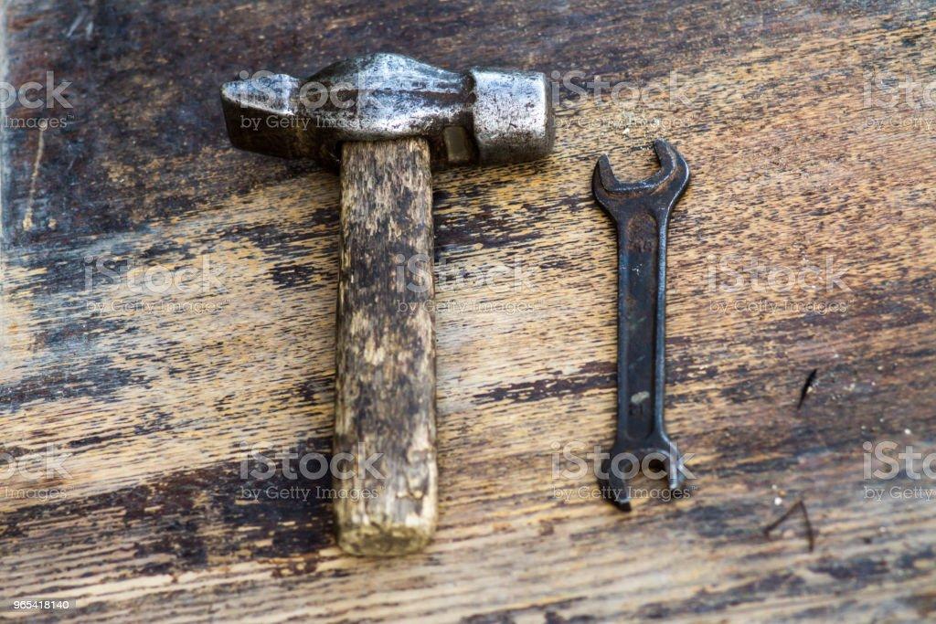 Mechanische Werkzeuge. Authentische Instrumente. Reihe von verschiedenen Garage Tools. - Lizenzfrei Ausrüstung und Geräte Stock-Foto