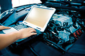 istock Mechanic using Diagnostic machine tools for car 868877120