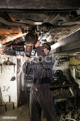 Mechanic using grinding wheel  in a ditch